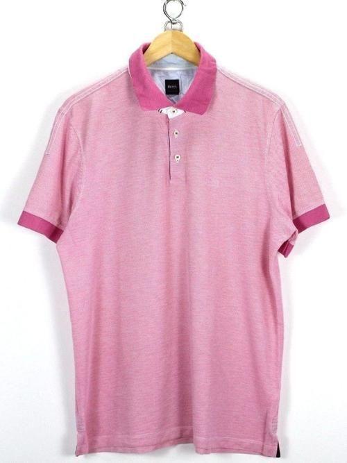 HUGO BOSS Mens polo Shirt, Size L Large, Pink, Short Sleeve, Cotton