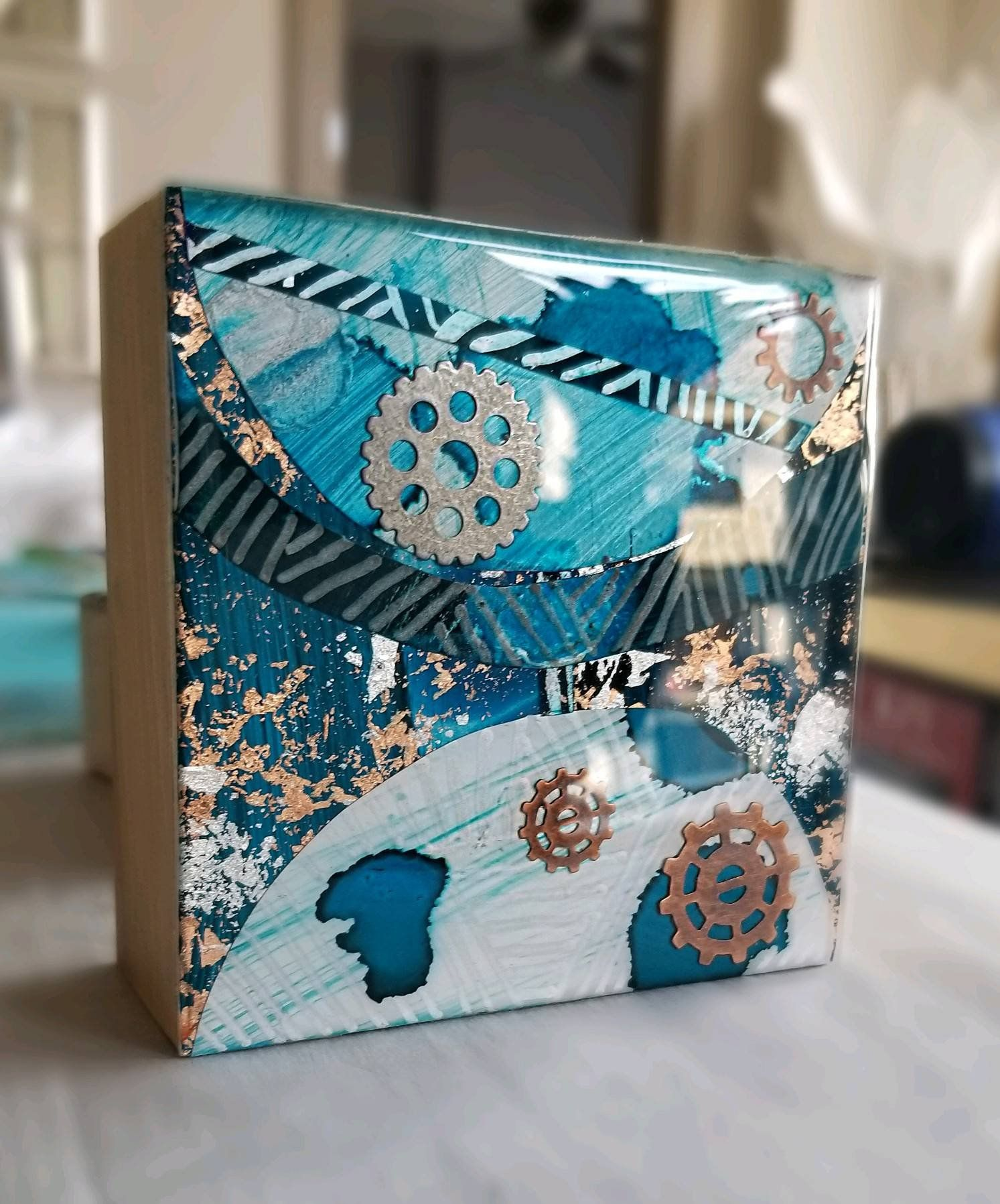 Abstract shelf wall art teal blue silver rose gold