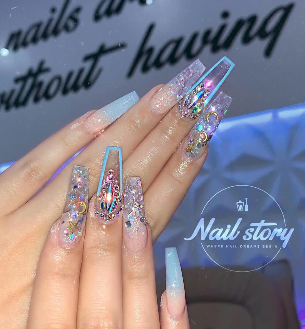 New Years Nails Design Ideas Clear Glitter Nails New Years Nail Designs Clear Nail Designs