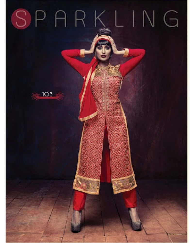 Stutti fashion exclusive red color straight long suit at rs