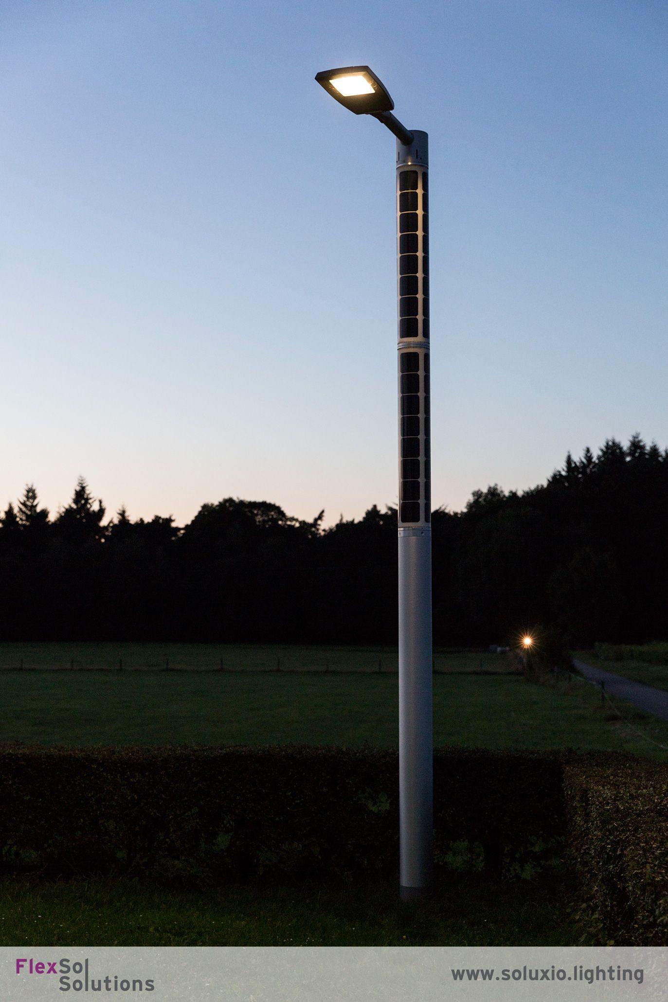 Soluxio Solar Street Light Post Lamp At Sunrise Solar Street Light Led Parking Lot Lights Post Lights