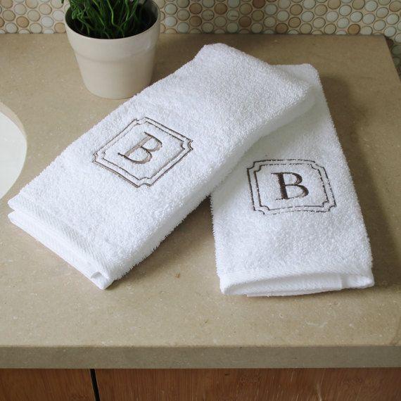 2 Piece Hand Towel Set Monogram Towels Personalized Orders