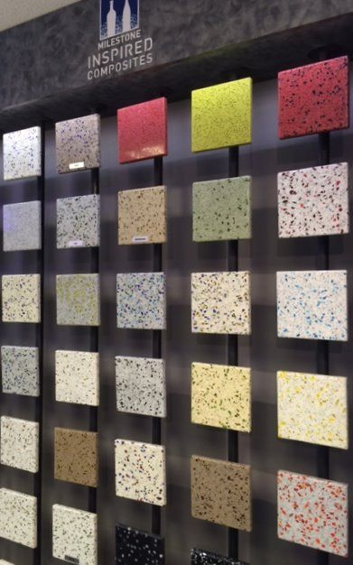 Recycled Glass Countertop Samples On Display In Premier Countertops  Showroom Www.premiercountertops.com