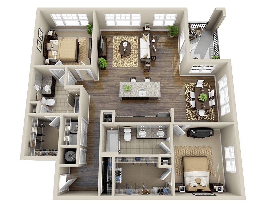 10 Awesome Two Bedroom Apartment 3D Floor Plans | Walk in, Bedroom ...