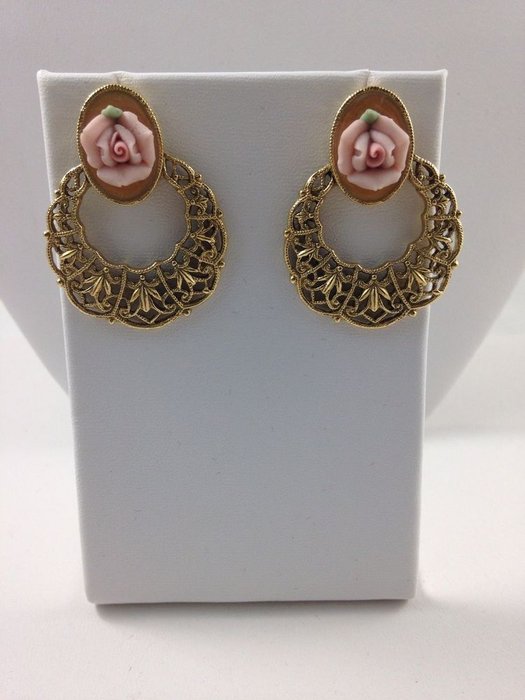 Vintage Fashion Jewelry 1928 Co.Rose Pink Filigree Earrings  #1928 #drop# FreeShipping