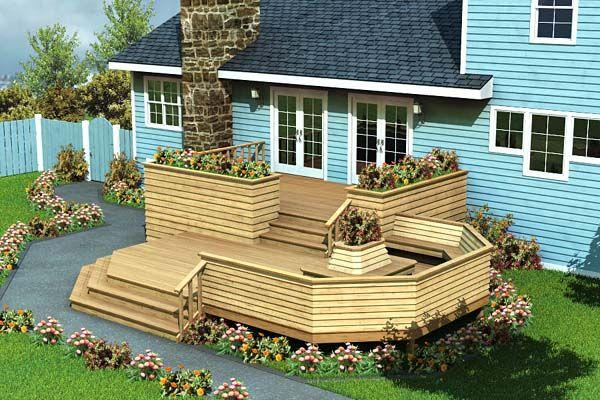 Luxury split level deck project plan 90010 planter for Split level patio