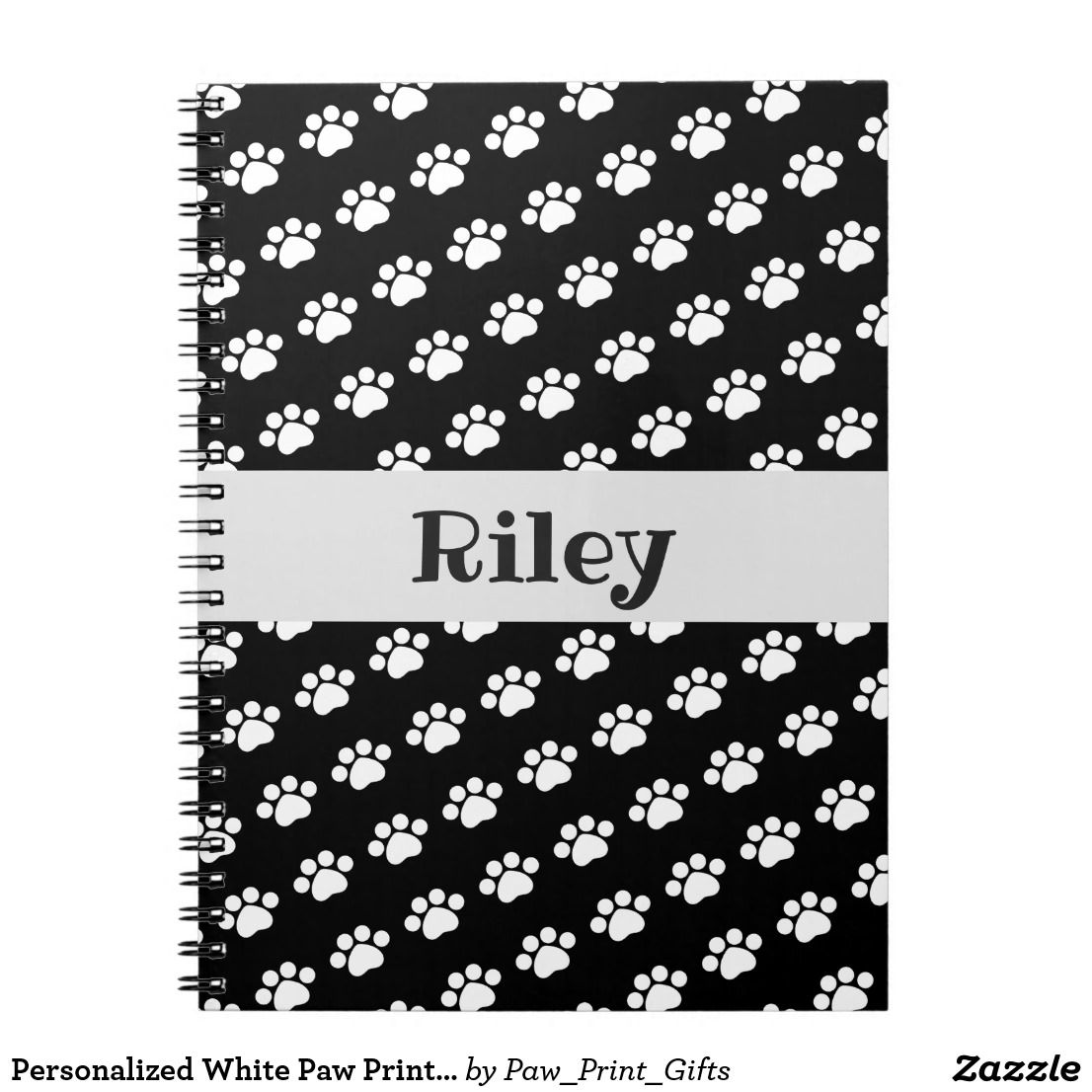 Personalized White Paw Print Pattern Notebook