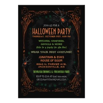 Black Orange Spiders Halloween Party Invitation Template
