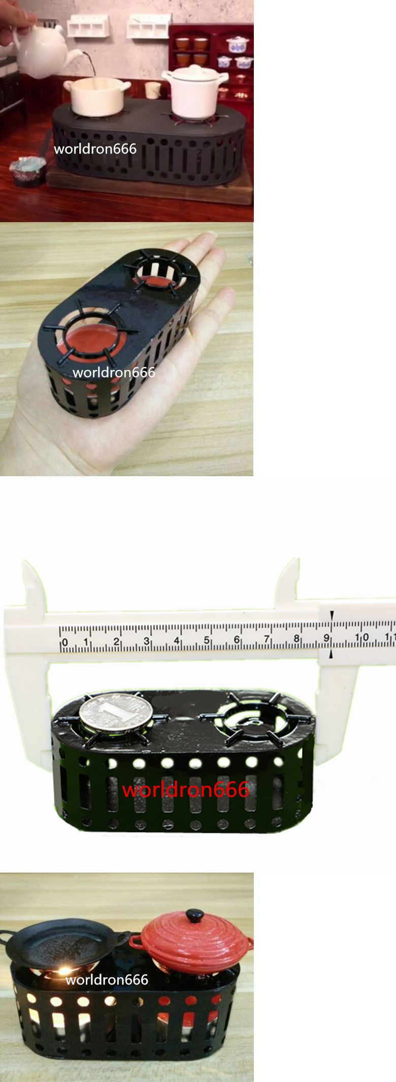 Usa Miniature Kitchen Mini Classic Double Hollow Stove Iron Stove