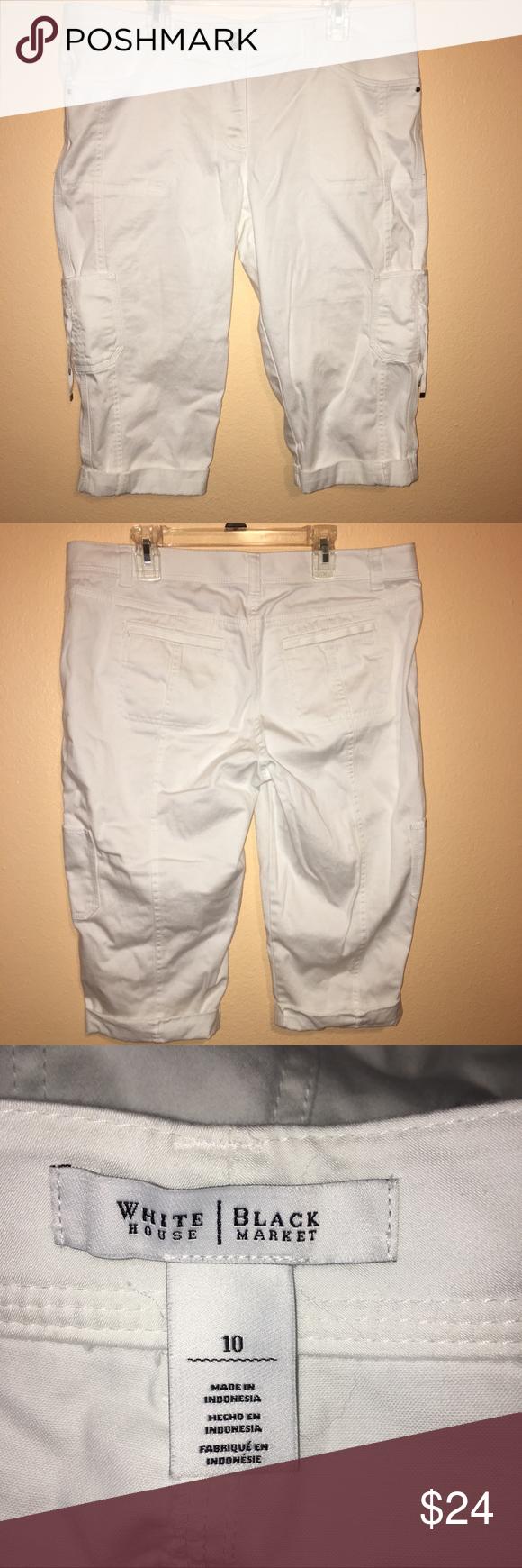 """White House Black Market White 9/"""" Cargo Bermuda Shorts Sz 8 NWT"""