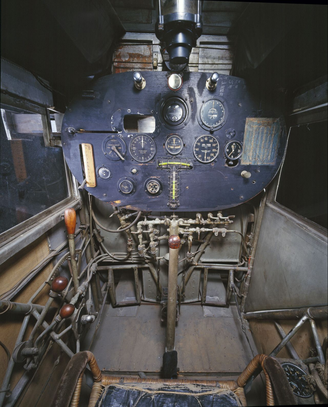 The cockpit of the Spirit of St. Louis, the first aircraft to complete a non-stop transatlantic flight