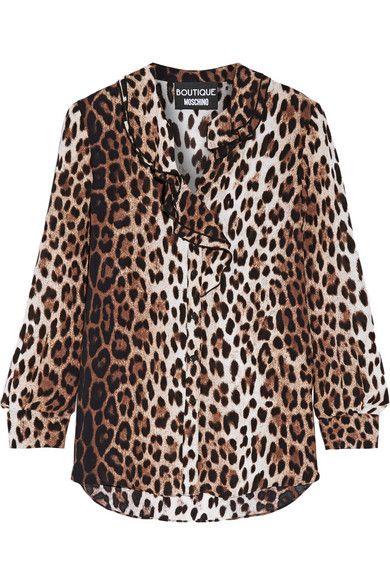 535152c0ae6931 BOUTIQUE MOSCHINO Ruffle-Trimmed Leopard-Print Crepe De Chine Blouse.   boutiquemoschino  cloth  tops