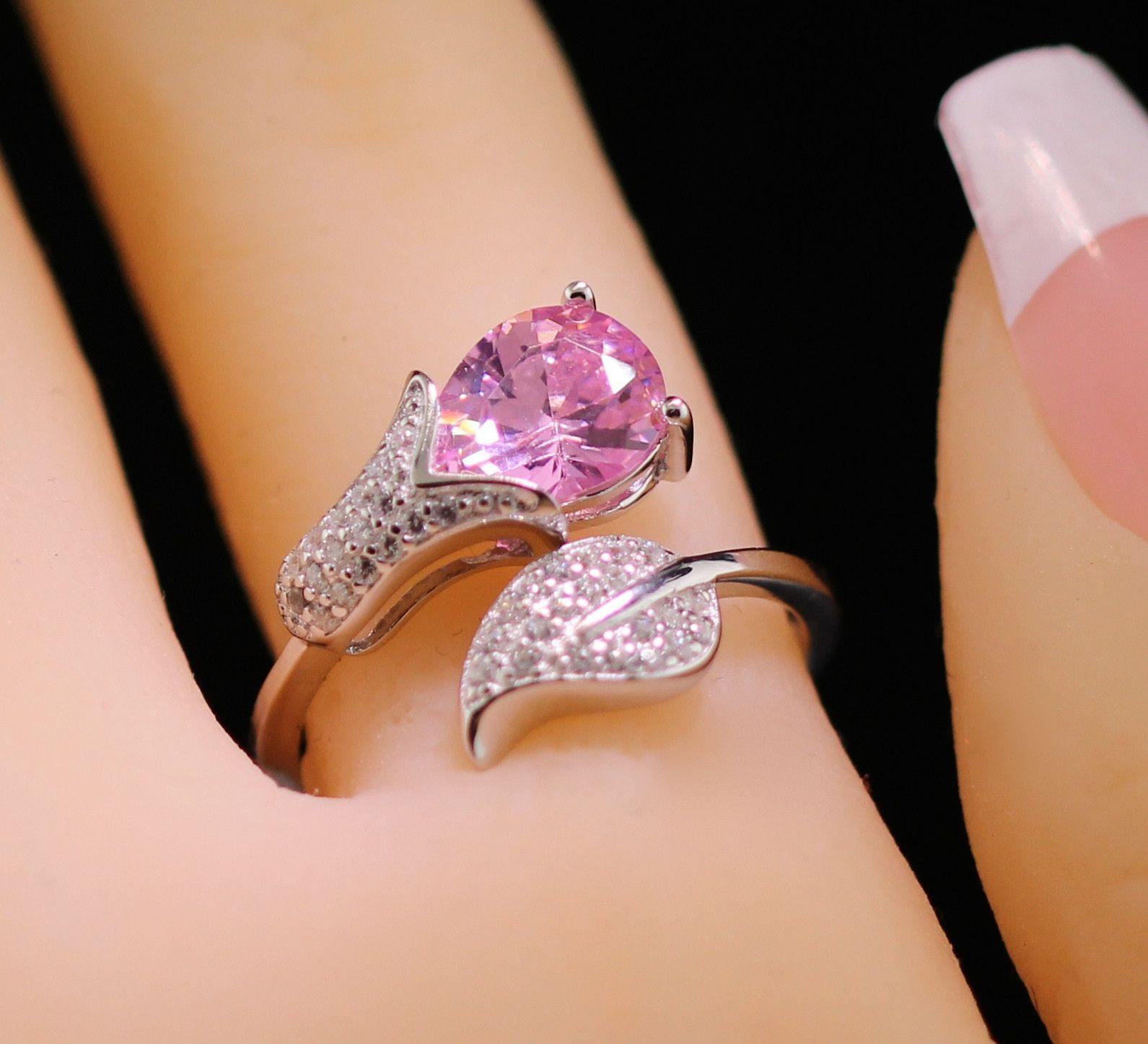 CHOOSE YOUR COLOR Summer Tulip Floral Flower Open Adjustable Wrap Fashion Index Finger Ring