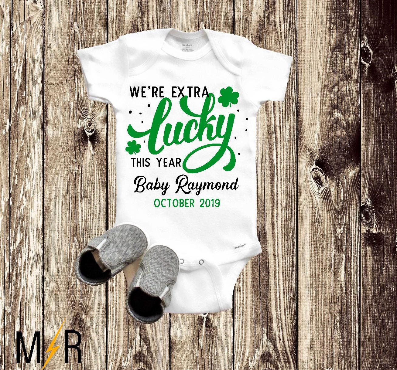 Baby Reveal Irish Extra Lucky This Year St Patrick/'s Day Onesie\u00ae St Patrick/'s Day Pregnancy Announcement Pregnancy Announcement