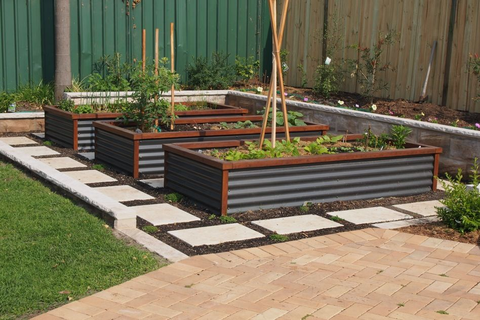 Great use of redgum sleepers corrugated iron pavers and for Raised bed plans