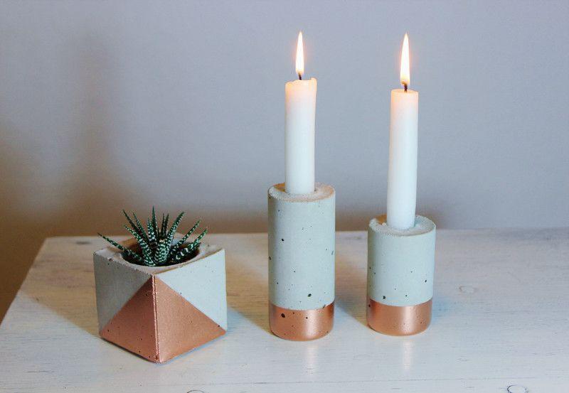 evtl in anderer farbkombi kerzenst nder aus beton vase kupfer von frida karo auf dawanda. Black Bedroom Furniture Sets. Home Design Ideas