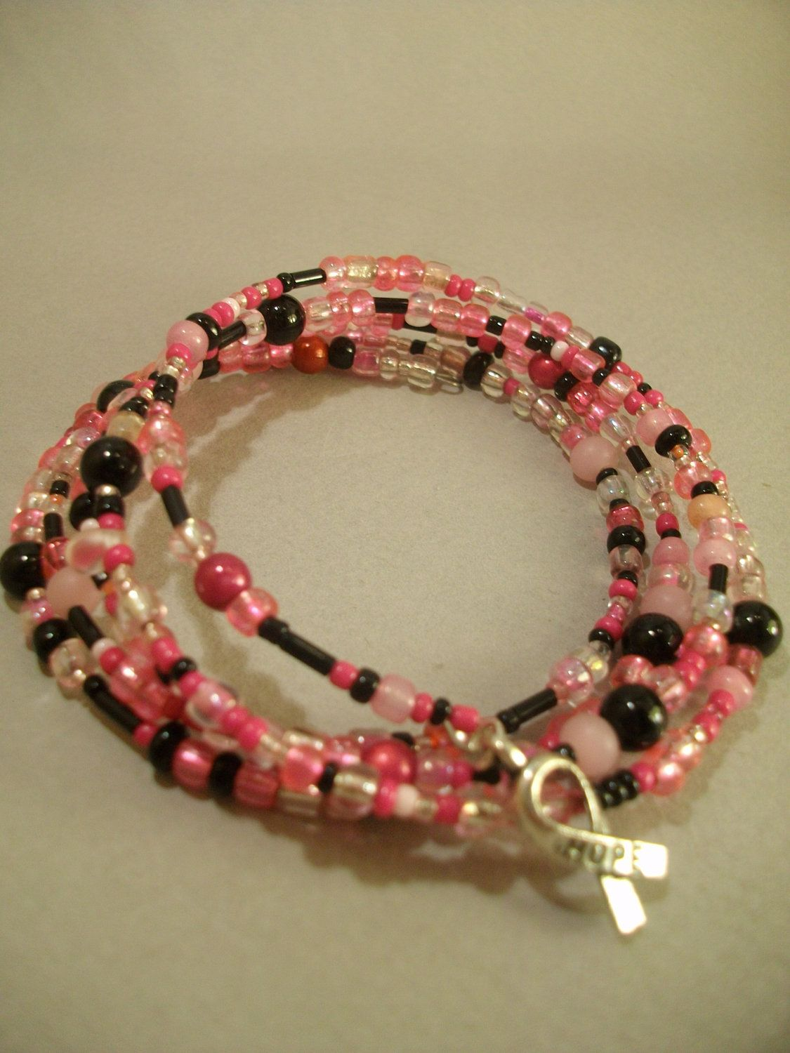 Pink and Black Breast Cancer Awareness Memory Wire by Obsidianrain, $13.49