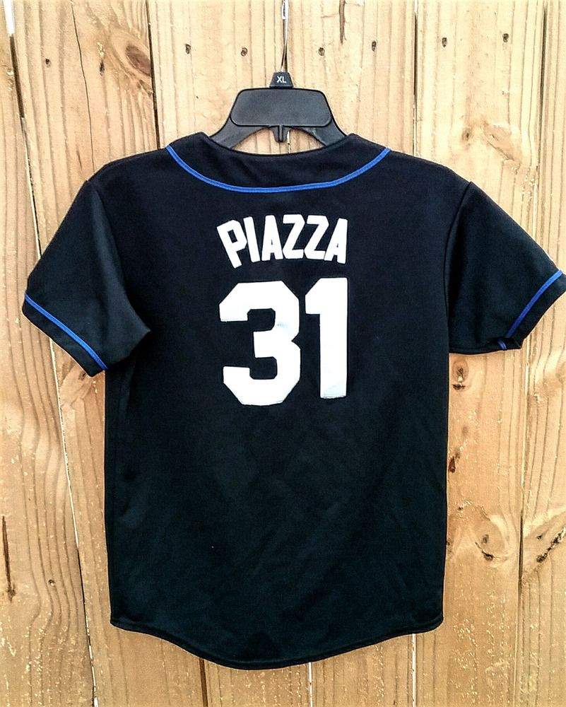 New York Mets Mike Piazza youth jersey size Large Sewned Lettering Logos 465421ea5
