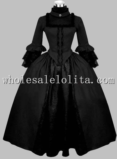 Click to Buy << Gothic Black Velvet Victorian Period Dress Halloween ...