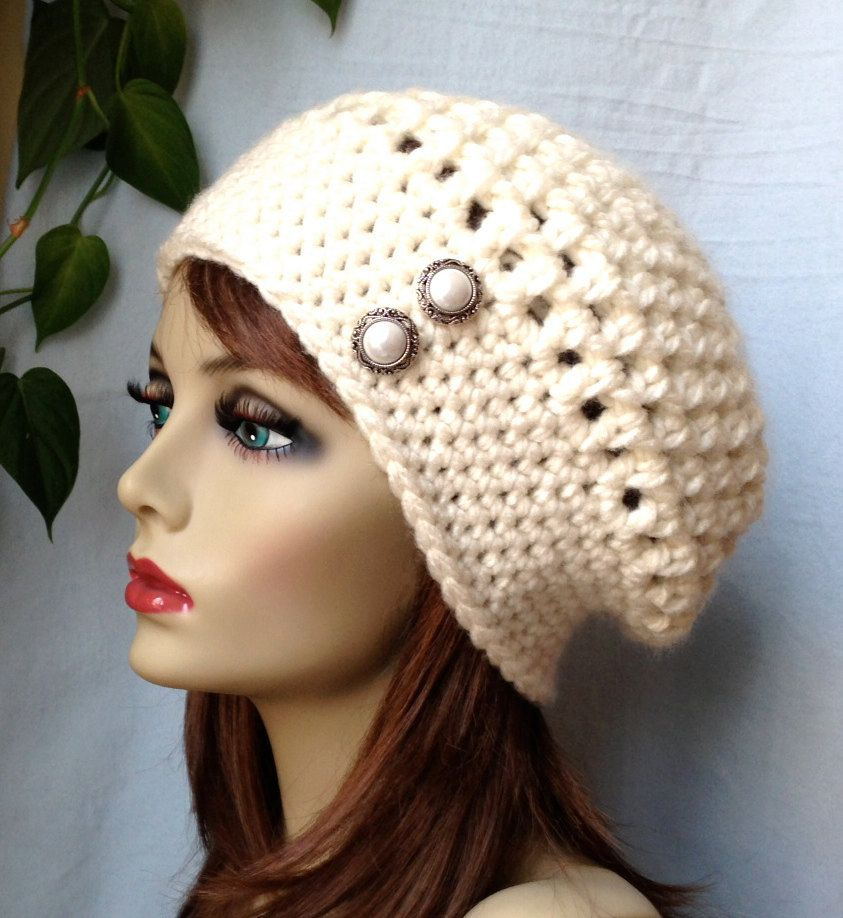 Crochet Slouchy Beret, Womens Hat, Off White Cream, Pick Your Color, Chunky,  Warm, Teens, Birthday Gifts for Her JE505BTBU1