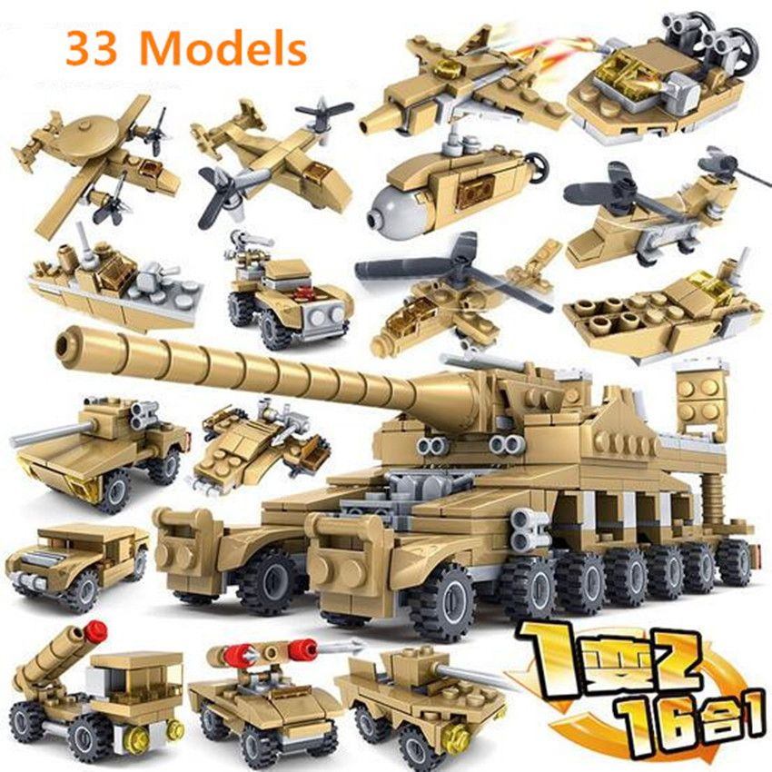 16in1 Military Tank Vehicle Building Blocks with WW2 Truck Toys Bricks 544pcs