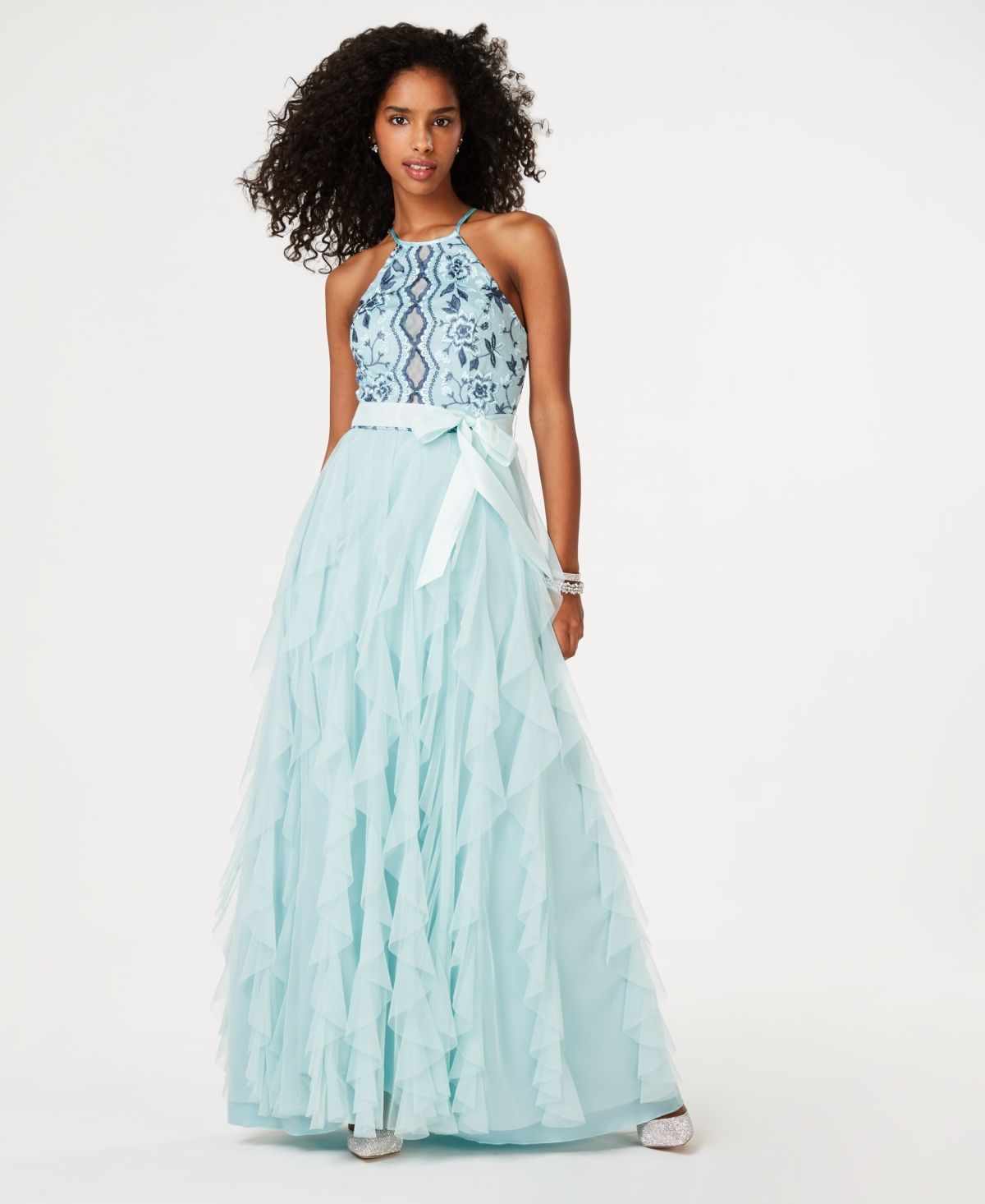 Layered-Skirt Gown