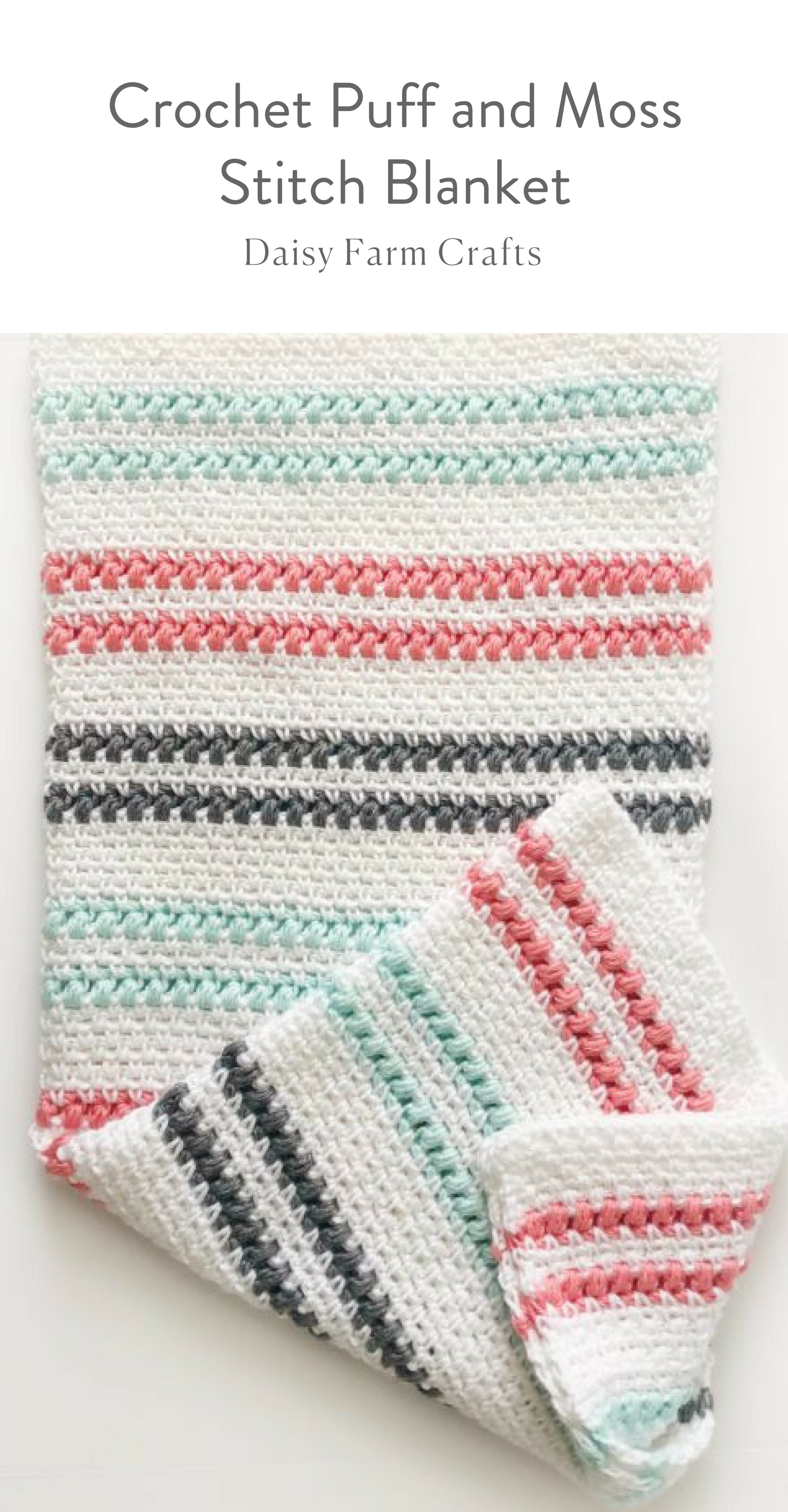 Crochet Puff and Moss Stitch Blanket | Crochet patterns | Pinterest ...