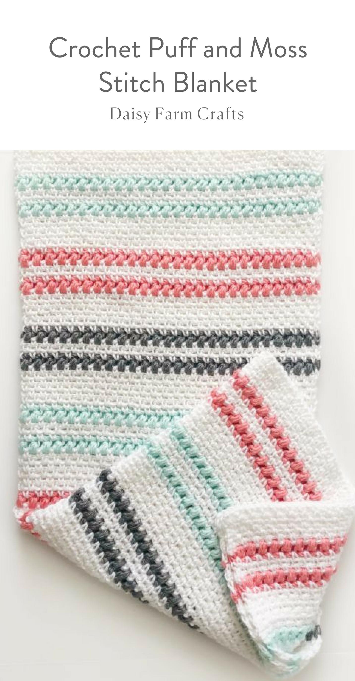 Crochet Puff and Moss Stitch Blanket   Crochet   Pinterest   Manta ...