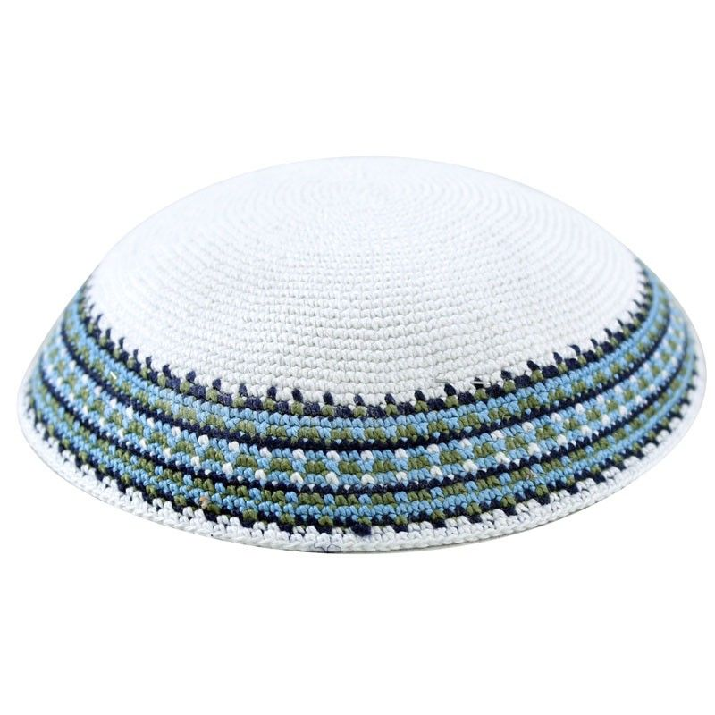 Knitted White Kippah with Green and Turquoise Border