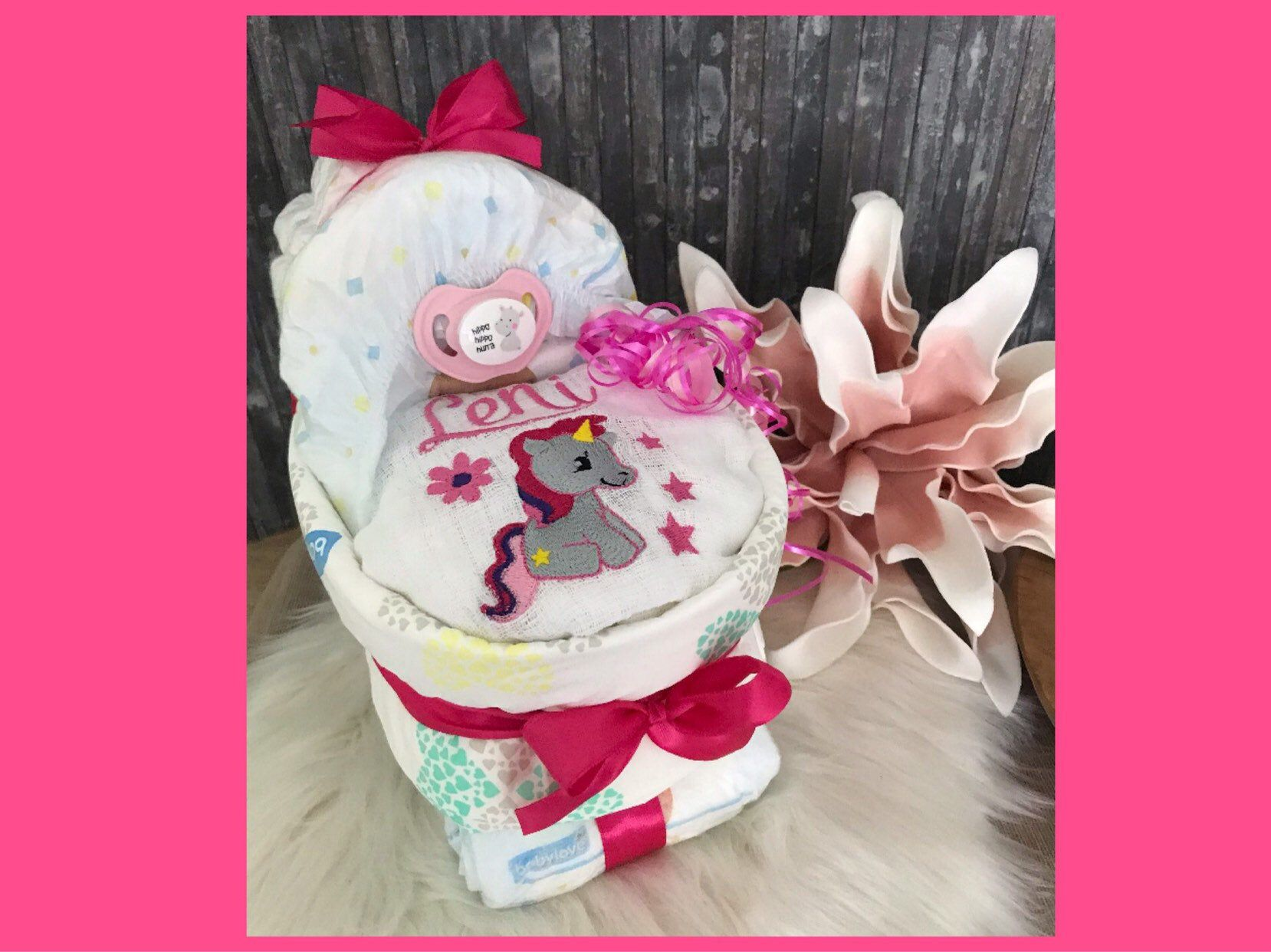 Geburt Windeltorte Mädchen ❤️Schlafbär im Bett ❤️mit Schnullerkette Geschenk z
