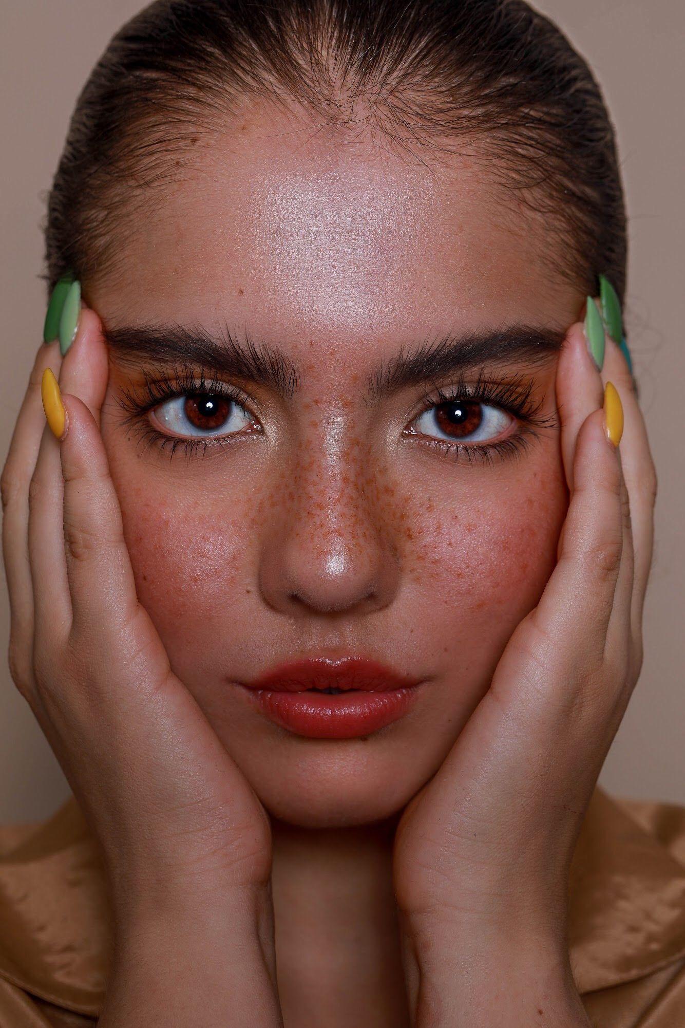 Freckles natural face makeup no makeup look long lashes
