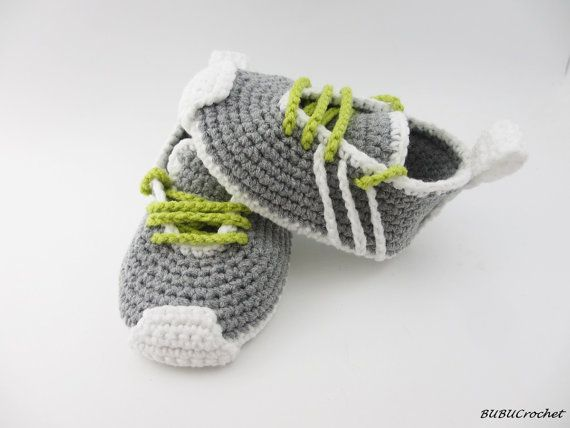 Crochet baby shoes Crochet baby booties 0-3 months Gray baby shoes ...