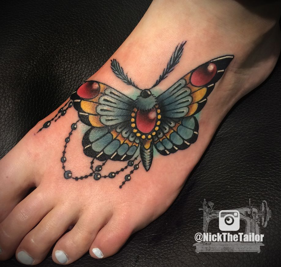Full color moth foot tattoo with gems butterfly by for Washing a new tattoo