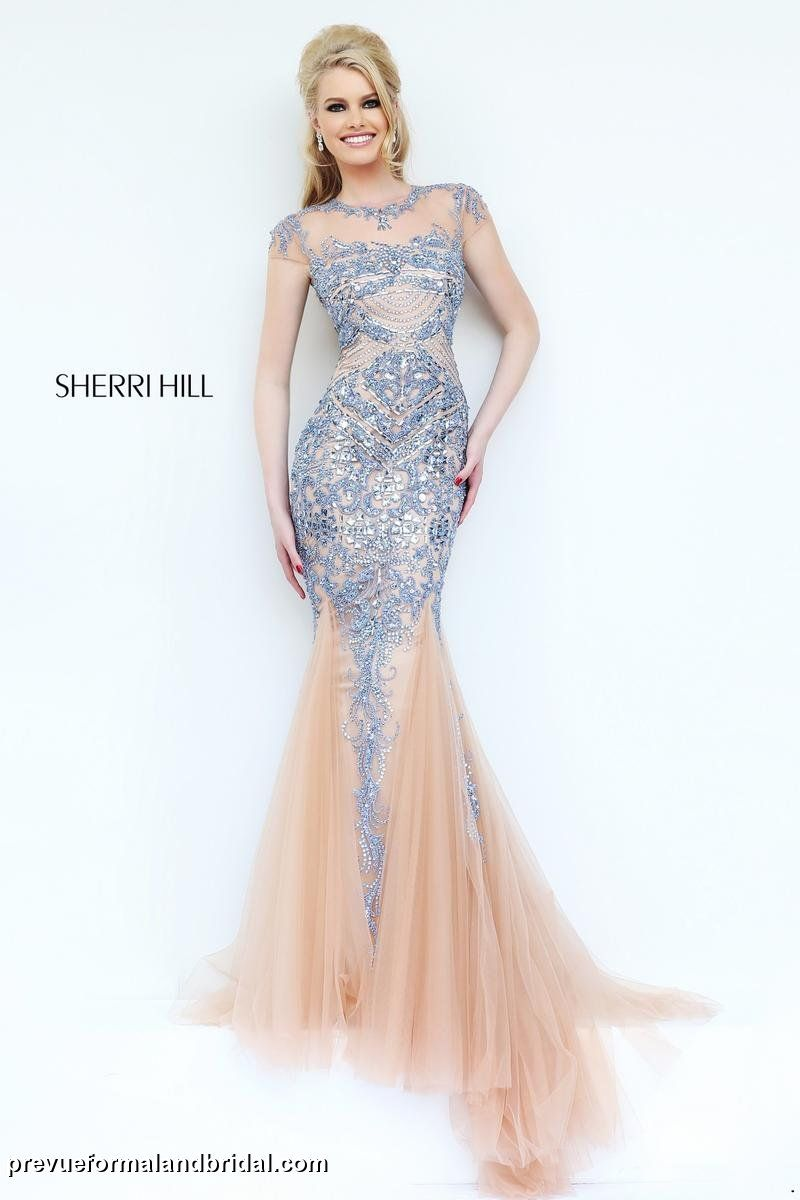 Sherri Hill prom dress. Nude and periwinkle mermaid gown. Form ...
