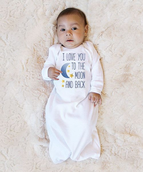 Look at this Love you a Latte White & Navy 'I Love You to the Moon and Back' Gown on #zulily today!
