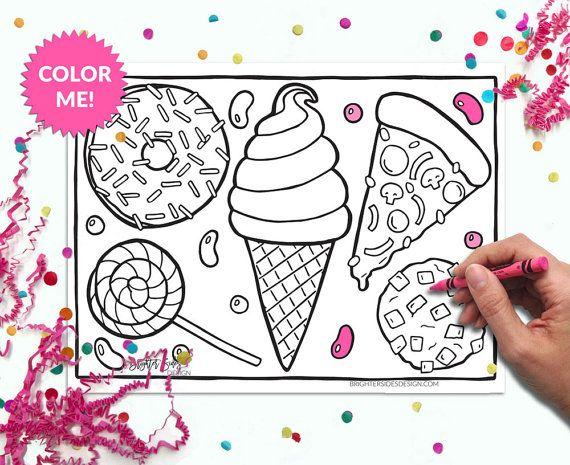 Coloring Page Kawaii Food Printable Adult Coloring Pizza Donuts