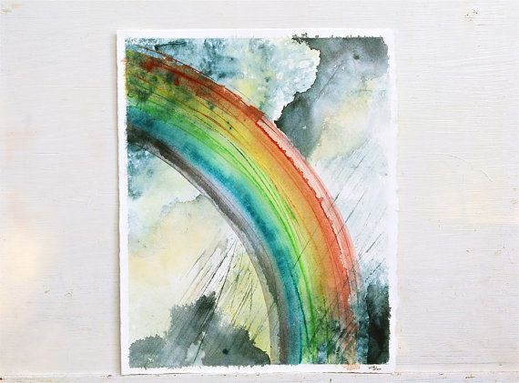 Rainbow Painting Original Watercolor Painting Rainbow Clouds