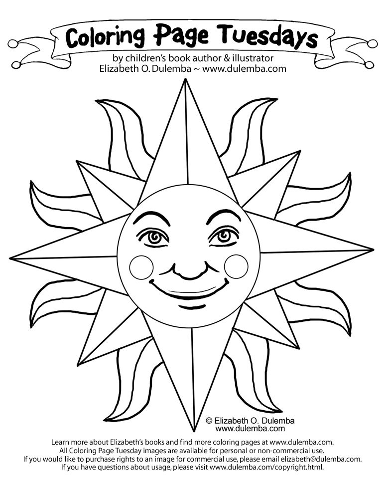 coloring page tuesday sun - Sun Coloring Page