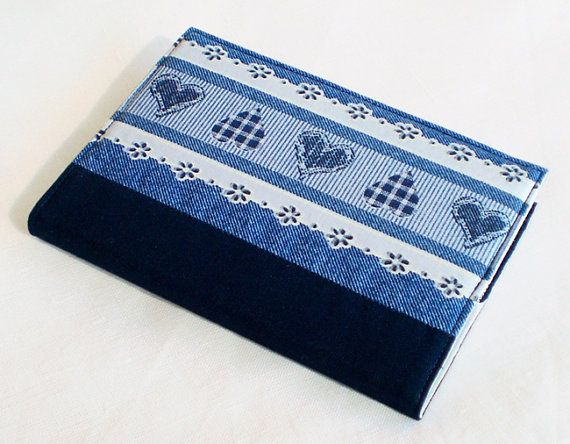 Fabric Journal Cover  Blue Jeans Country Hearts  by PatchworkMill, $16.00