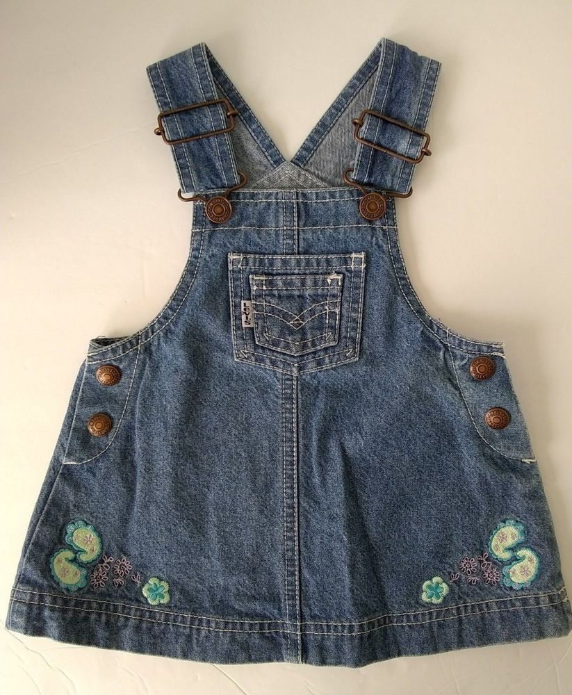 31f8ea84 Vtg Levis Baby Girl Blue Denim Overalls Dress Jumper Floral Paisley Pastel  18 MO #Levis #Biboverallsdress #Casual