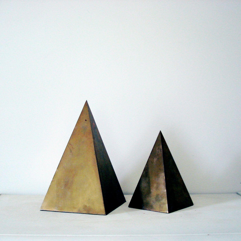 Brass Geometric Triangle Pyramid Statues   objects   Pinterest ...
