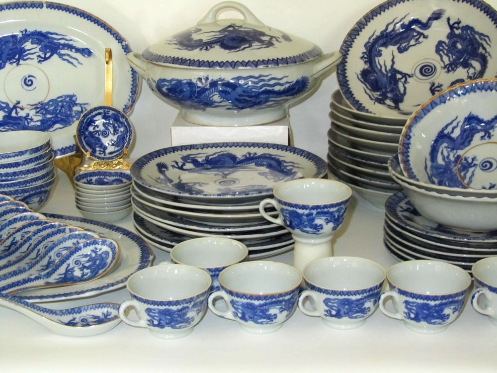 Vtg 59 Blue White China Japanese Oriental Chinese Dragon Ware Imari  DINNERWARE
