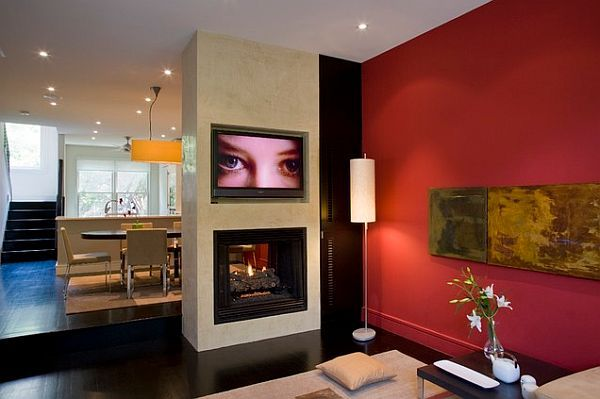 Contemporary Living Room With Red Wall Decor Decorating Photos Inspiration For A Beautiful Home