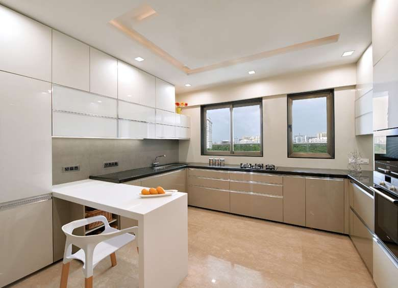 Complete acrylic kitchen in white and cappuccino. Isn't it ...