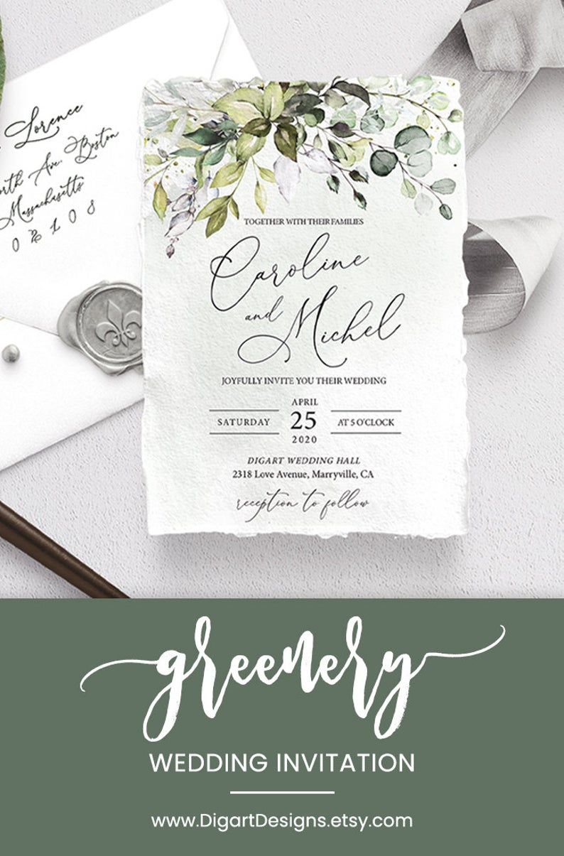 Greenery Wedding Invitation Template Printable Eucalyptus Etsy In 2020 Wedding Invitation Templates Wedding Invitations Boho Wedding Invitations