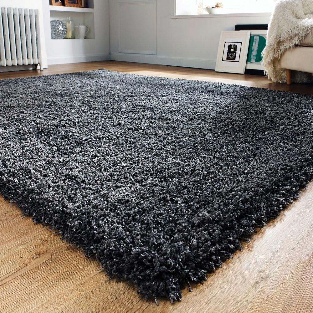Modern Thick Fluffy Charcoal Grey Shaggy Rugs Non Shed Soft Area Living Room Rug Favoritestuff Rugs In Living Room Plain Rugs Charcoal Rug
