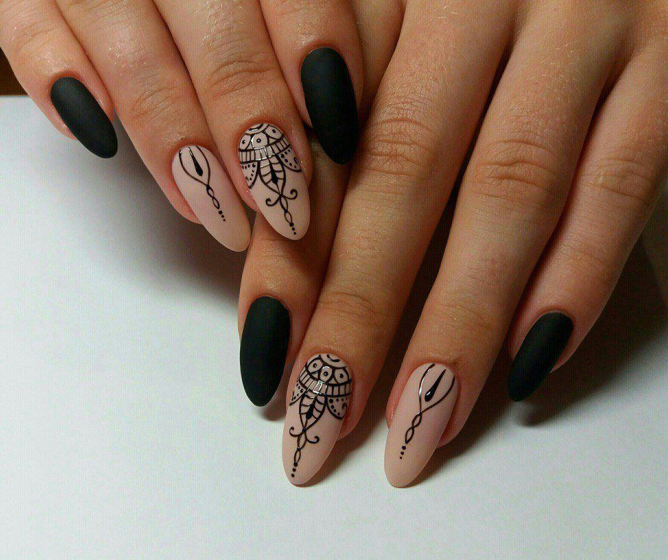 Black and beige nails, Black dress nails, Evening dress nails, Evening nails,  Gel polish on the nails oval, Halloween nails, Henna nails, ... - Nail Art #2358 - Best Nail Art Designs Gallery Nails• Pinterest
