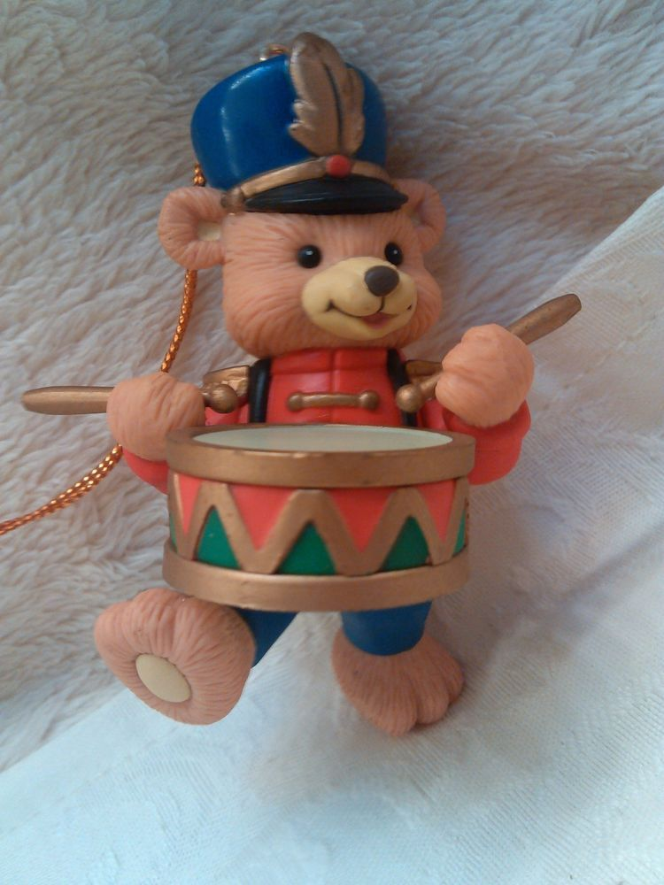Marching Band Christmas Ornaments Part - 43: Vintage Little Drummer Boy Drum Bear Marching Band Ornament