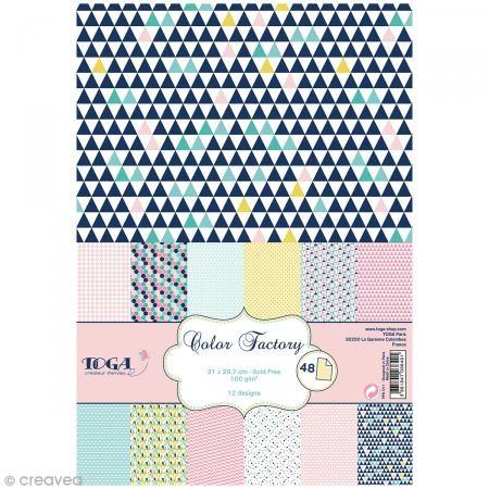 Papier Scrapbooking Toga Color Factory Geometrique Pastel 48 Feuilles A4 Bloc Papier A4 Boutique Scrapbooking Scrapbook Origami