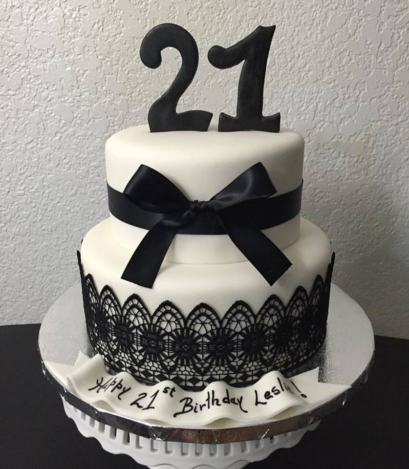 Black And White 21st Birthday Cake Lace Black White Satin